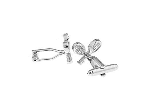 DOLOVE Personalisierte Manschettenknöpfe Herren Elegant Badminton Schläger Manschettenknöpfe Herren Hochzeit Personalisiert Silber