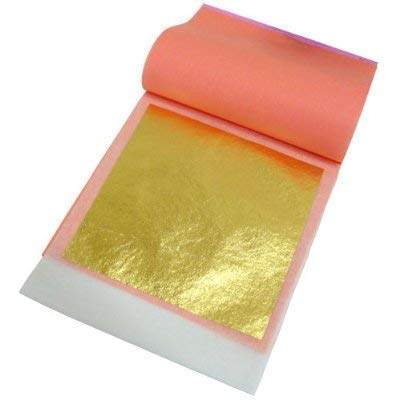 Slofoodgroup 24 Karat Edible Gold Leaf Soft Transfer Gold (25 Lightly Attached Sheets on Transfer Backing) 3.15 in x 3.15in Soft Press Transfer Gold Leaf Sheets for Baking, Spa, Crafting and More