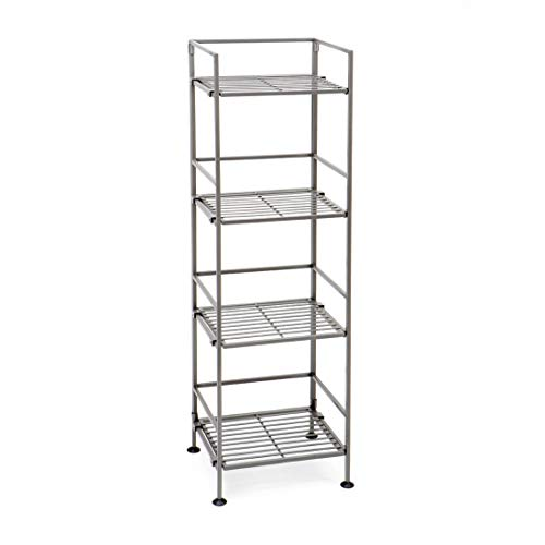 Seville Classics 4-Tier Iron Square Tower Shelving, Silver