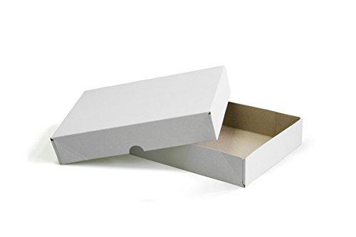 Aufrichtkarton mit Stülpdeckel Vollpappe weiß Gr.305x215x50mm (4TKD) (50)