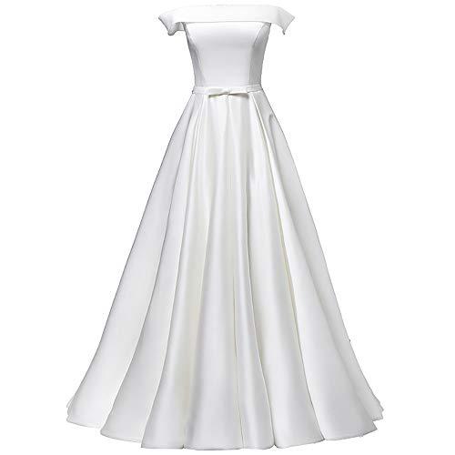 Frauen Braut Satin Brautkleid, Brautkleid Schulterfrei Elfenbein Weiß, Hepburn einfaches Kleid im Freien kirchliche Hochzeit,ivorywhite-S