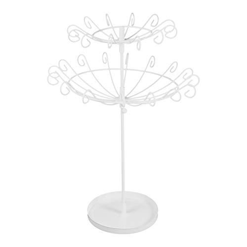 Cabilock Joyería Giratoria Torre Collar Soporte Pulsera Soporte Vintage Pendiente Organizador de Joyería Soporte de Exhibición Árbol de La Joyería para Las Mujeres Niñas Regalo Blanco