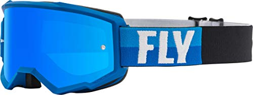 Fly Racing Zone with Post Youth Off-Road Motorcycle Goggles - Blue/Black/Sky Blue Mirror/Smoke/One Size