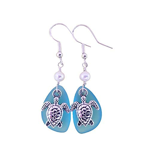 Handmade in Hawaii,'Twin Turtles' Turquoise Bay blue sea glass earrings, Freshwater pearls, (Hawaii Gift Wrapped, Customizable Gift Message)