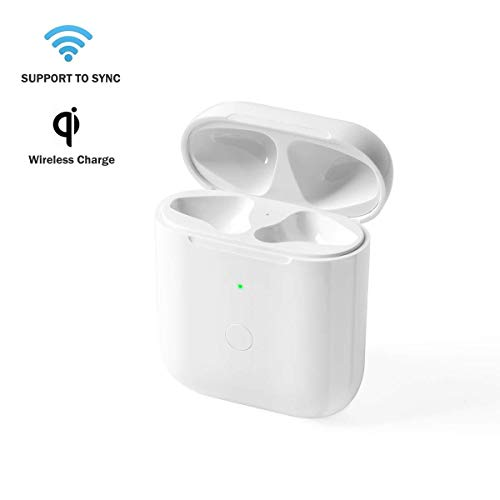 BLEAKTEIR Airpods Chargring Case Airpod Charger Compatible with Airpods 1/2 QI Wireless Charging Charger Case Replacement for Air Pods Charger Case with Bluetooth Sync Button
