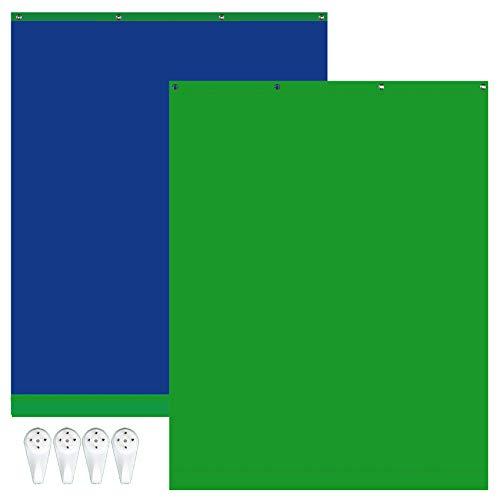 Selens Grün Bildschirm Hintergrund 1,5x2m Doppelseitiger Blau Musselin Hintergrund Stoff Chromakey Green Screen mit Haken für Porträtfotografie Video...
