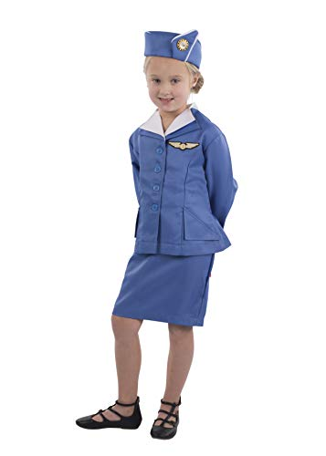 Dress Up America Retro Stewardess Flight Attendant Costume Accesorios de Disfraz, Azul, Large para Mujer