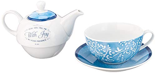 """""""You Will Fill Me With Joy"""" Tea-for-One Set - Psalm 16:11"""