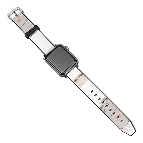 Lindo bebé rinoceronte con pegatinas de fondo Compatible con Apple Watch Band 38 mm 40 mm Correa de repuesto de cuero Correa de moda Compatible con iWatch Series 5 4 3 2 1
