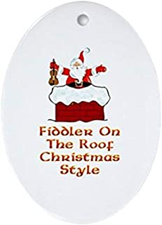 Voicpobo Christmas Fiddler on The Roof Christmas Ornaments Novelty Ceramic Oval Christmas Tree Decoration Ornament Holiday Birthday Anniversary Keepsake Gifts