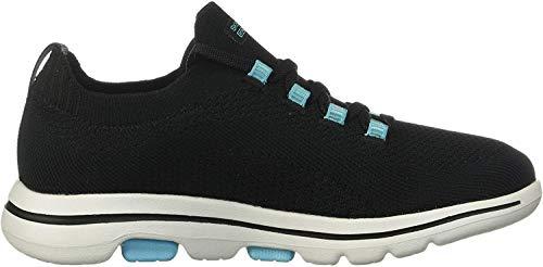 Skechers Damen Go Walk 5 - Uprise Sneaker, Schwarz (Black Textile/Turquoise Trim Bktq), 40 EU