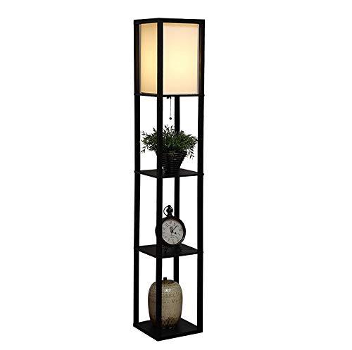 Myba - Lámpara de pie LED con puerto de carga USB, para salón, dormitorio, simple recepción vertical, madera, lámpara de pie, lámpara de pie (color negro)