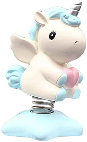 Unicornio columpio accesorio de coche, juguete decorativo para salpicadero, decoración interior de escritorio, regalo para fiesta (azul cielo)