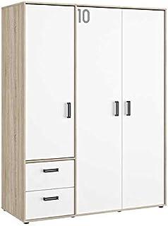 Tousmesmeubles Armoire 3 Portes 2 tiroirs Chêne/Blanc - Sporty - L 155 x l 60 x H 200 - Neuf