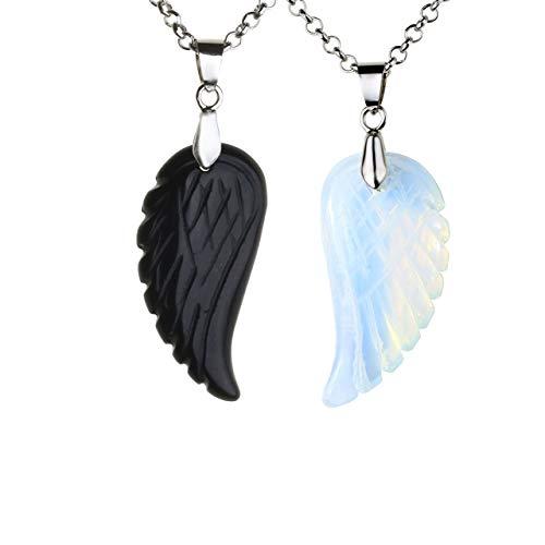 JSDDE Schmuck, 2 Stück Flügel Anhänger Halskette Set Anhänger aus Edelstein Heilstein Glücksbringer Paare Pärchen Kette für Liebhaber Geschenk (Opal+Obsidian)