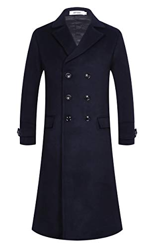 APTRO Men's Full Length Wool Trench Coat Fleece Lining Double Breasted Overcoat 1818 Navy L