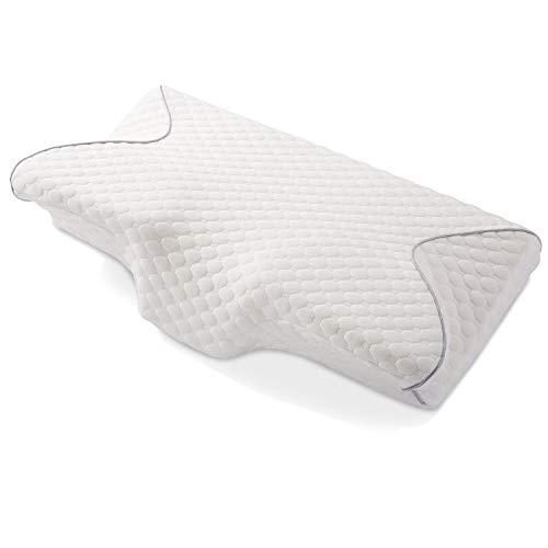 MARNUR Nackenstützkissen Cervical Memory Foam Kissen Ergonomische Kissen für Nacken- und Schulterschmerzen mit 2 Stück Memory Foam zur Anpassung der Härte