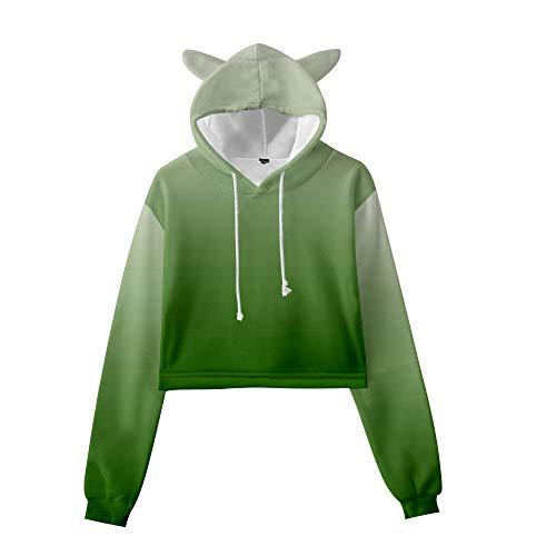 GYINGY Cat Ear Hoodies Gradient Rainbow Print Sudadera con Capucha Unisex Jersey cálido Cosplay Outwear Abrigo suéter con Orejas-XXXL