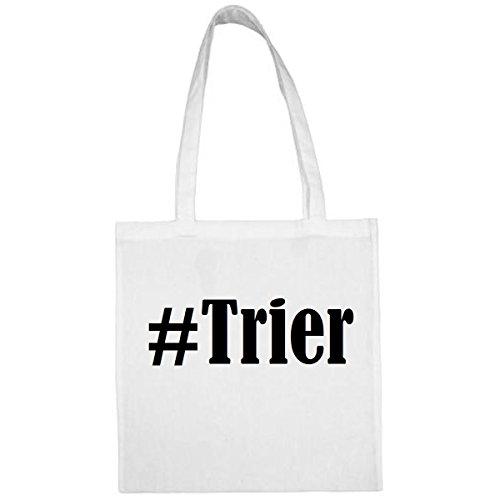 Tasche #Trier Größe 38x42 Farbe Weiss Druck Schwarz