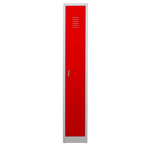 Certeo Garderobenspind | HxBxT 180 x 30 x 50 cm | Zylinderschloss | Grau-Rot | Garderobenspind Umkleidespind Spind Schrank Abschließbar