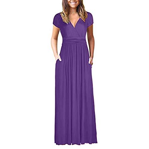 Sommerkleid Damen einfarbig Strand Rock hohe Taille Slim V-Ausschnitt Langen Rock Rundhals kurzärmeliges Freizeitkleid Sonojie