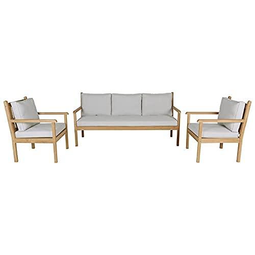 KAYU - Salón de jardín de teca maciza con 1 sofá de 3 plazas de teca y 2 sillas de teca
