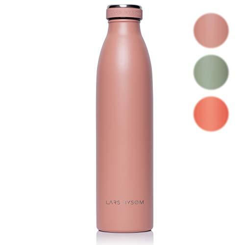 LARS NYSØM roestvrij staal 750ml drinkfles | BPA-vrije geïsoleerde fles | lekvrije waterfles voor sport, fiets, hond, baby, kinderen (roze)