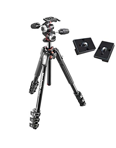 Manfrotto MK190XPRO4-3W Aluminum Tripod with 3-Way Pan/Tilt Head and Two ZAYKiR Quick...