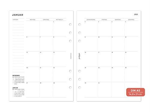 pen & pages® 2021 Monatsübersicht fortlaufend - Din A5-6 Löcher - Kalender A5 Organizer, 1 Monat auf 2 Seiten, 14,8 x 21 cm