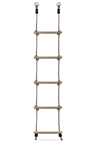 HIKS® Kids Rope Ladder with wooden Rungs ideal for Climbing Frame, Tree House, Dens & Play House