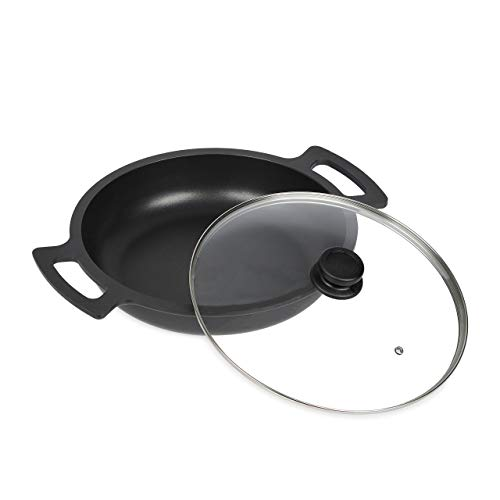 Relaxdays 10034488 - Sartén para servir (apta para inducción, antiadherente, con tapa de cristal, aluminio, 32 cm), color negro