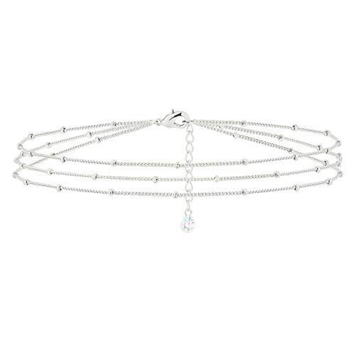 MEVECCO Silver Layered Bracelet,Sterling Silver 14K Silver Plated Cute Bead Chain Dainty Satellite Minimalist Delicate Simple Bracelet for Women