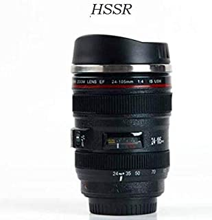 HSSR 24-105MM Lens Thermos Camera Travel Coffee Tea Cup Mug Lens Creative Cup Stainless Steel Brushed Liner Black
