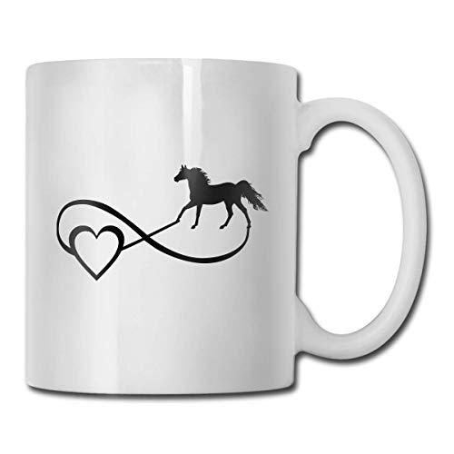 Taza con símbolo del infinito del amor infinito de Horse Lover, taza de café para bebidas calientes, taza de gres, taza de café de cerámica, taza de té de 11 oz