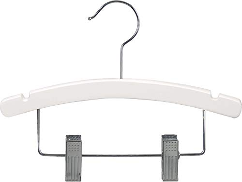 White Kids Combo Hanger Arched 12 Inch Wood Hanger with Clips and Notches Box of 100 by The Great American Hanger Company
