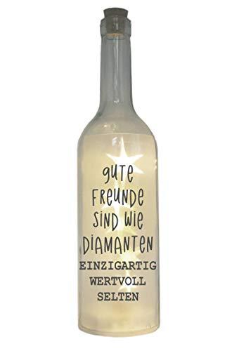 WB wohn trends LED-Flasche mit Motiv, Gute Freunde sind wie Diamanten, grau, 29cm, Flaschen-Licht Lampe mit Text Spruch