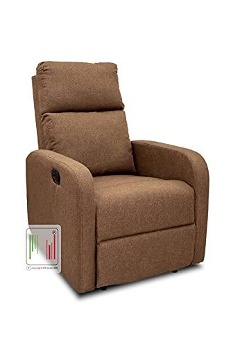 Stil Sedie Poltrona Relax reclinabile Tessuto Manuale Tre Livelli di Posizione Modello Serena (Marrone)
