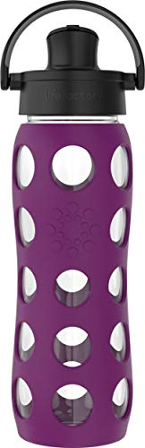 Lifefactory 22 Oz Glass Active Flip Cap/Silicone Sleeve Water Bottle, 22 Ounce, Plum