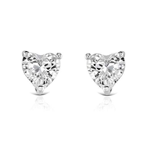 Isabella Silver LONDON Designer Jewellery 925 Sterling Silver Heart CZ Stud Earrings (Claw Set Heart)