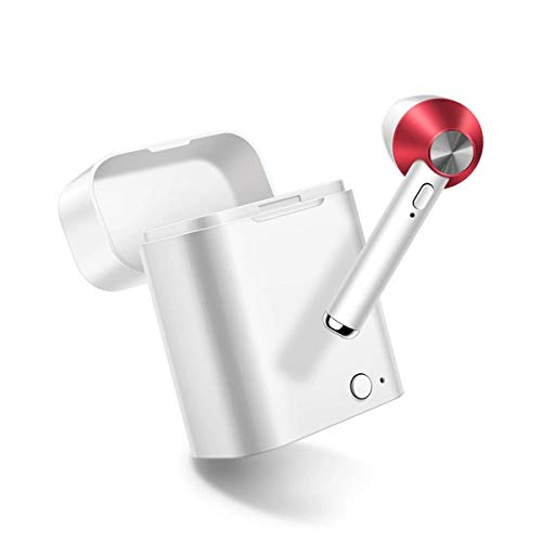 linqingshiduodeshangmaoyouxiangongsi ist Präfekt für Streaming/Podcasting/Gaming Drahtlose Bluetooth-Kopfhörer-Mini tragbare leichte einzelne Ohrhörer mit Ladebox mit MIC (Color : Red)