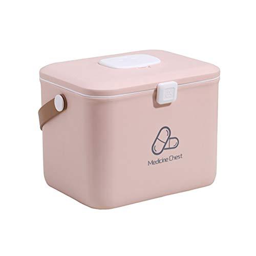 Oyria Medizin Aufbewahrungsbox Brustpillenbehälter, tragbarer medizinischer Aufbewahrungsbox Organizer mit Doppelschicht, Erste Hilfe Set Notfallzubehör Medizin Set Behälter (Rosa, L)