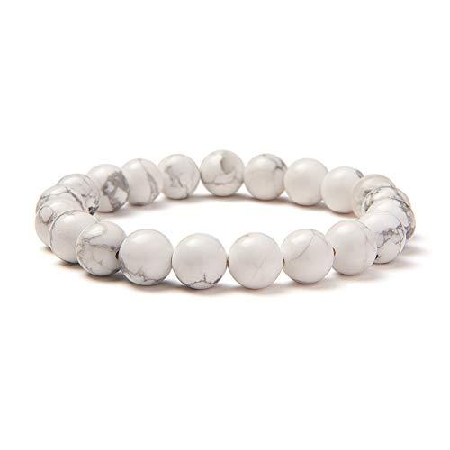 SUNNYCLUE Natural auténtica blanco gris Howlita cuentas redondas de piedras preciosas brazalete elástico 8 mm alrededor de 7 'unisex