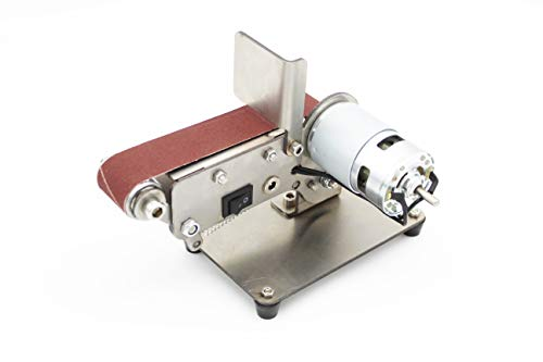 Afilador de cuchillos de ángulo fijo de 5-25 grados 4500-9000 Rpm Mini Lijadora de Banda Eléctrica Portátil,Máquina Pulidora de Pulido,DIY Afiladora de Bordes 10 Bandas + 5 llave inglesa