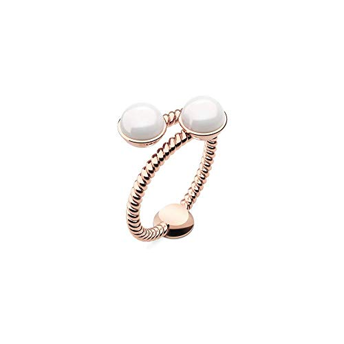 PAUL HEWITT Rope Pearl Anillo de Oro Rosa para Mujer - Anillo de Acero Inoxidable Chapado en Oro Rosa, Anillo de Dedo para Mujer