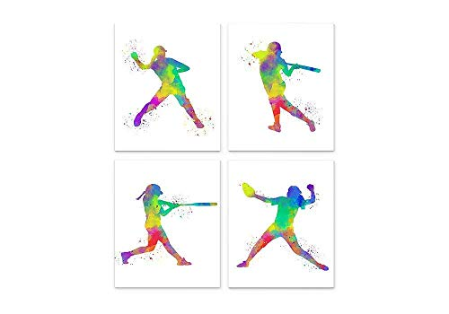 Softball Player Sport Abstract Wall Art Print 8x10, Set of 4, Ideal for Teen Girl Bedroom, Teachers, Coaches and Fans