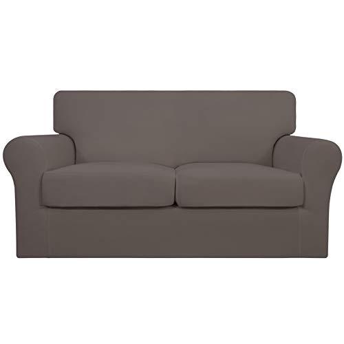 Easy-Going 3 piezas de funda elástica suave para sofá para perros – Funda de sofá lavable para 2 cojines separados – Protector de muebles elástico para mascotas, niños (lecho, gris pardo)