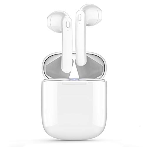 Bluetooth 5.0 Wireless Earbuds, Wireless Bluetooth Headphones with Deep Bass HiFi Stereo Sound, Built-in Mic Earphones with Portable Charging Case for iOS and Android