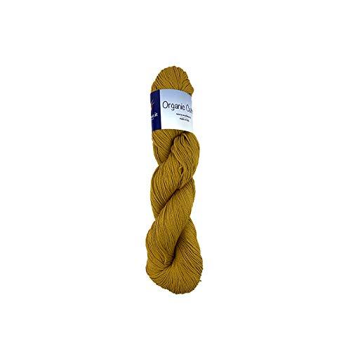 Organic Cotton 100 g puur biologisch katoen voor breinaalden, haken en weefstoelen Mosterd