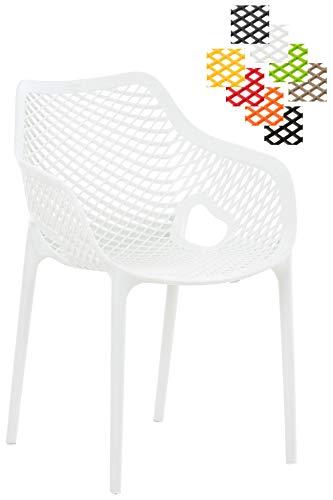 CLP XL-Bistrostuhl AIR aus Kunststoff I Stapelstuhl AIR mit Einer Sitzhöhe von 44 cm I Outdoor-Stuhl mit Wabenmuster I erhältlich Weiß