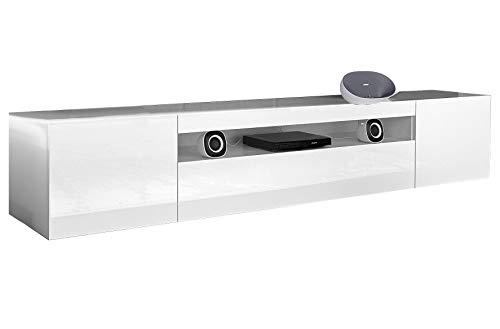 elbectrade Porta TV Moderno Mojito, Mobile Soggiorno Bianco, portatv Design.Dimensioni in cm (L-A-P): 200-36,2-40